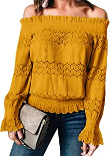 Miessial Women's Off Shoulder Ruffle Blouse Lace Up Smocked Waist Casual Top Shirts
