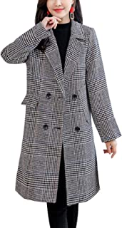 Women's Classic Double Breasted Midi Long Check Plaid Wool Pea Coat