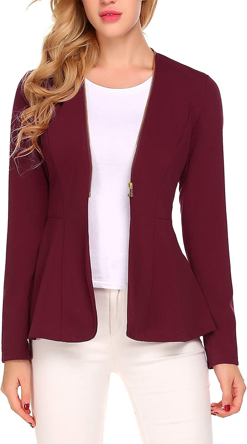 BURLADY Women's Casual Long Sleeve Open Front Zipper Cardigan Blazer Work Office Jacket Suits