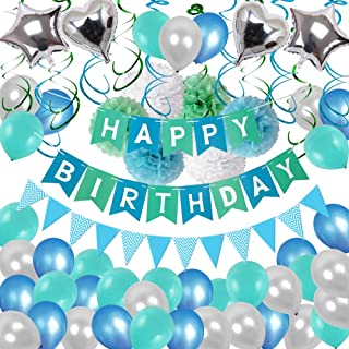 Birthday Decorations, Puchod Happy Birthday Party Decoration Kit Green Confetti Balloons 94pcs Swirl Blue Decorations with Paper Pom Pom 13th 16th 18th 21st 30th 40th 50th 60th 70th Party Supplies for Boys Mens