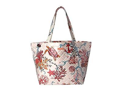 Vera Bradley Quilted Beach Tote (Spring Tide Coral) Handbags