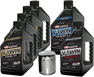 MaximaHiflofiltro VTTOCK26 Complete Engine Oil Change Kit for V-Twin Synthetic Blend Harley Davidson Evolution, 6 Quart