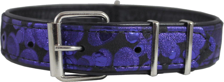 Black Genuine Leather bluee Print Dog Collar 20 x1.25  Fits 14 18.5  Neck