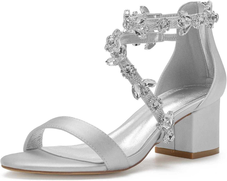 Women's 新色追加して再販 Low Block Heel キャンペーンもお見逃しなく Sandals Chunky Weddin Strap Ankle Crystal
