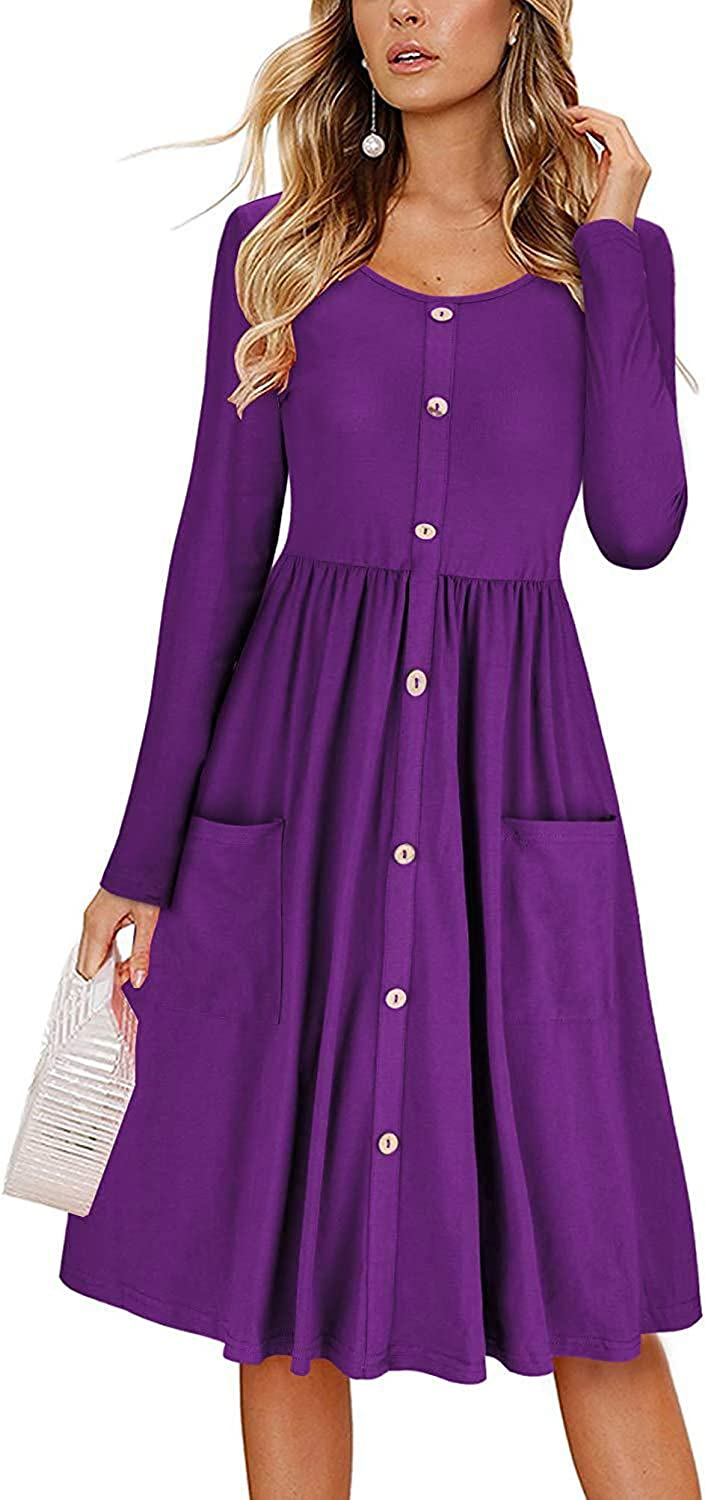 Itemnew Womens Crewneck Dec-Button Fit and Flare Knee Length Pleated Dress Pockets