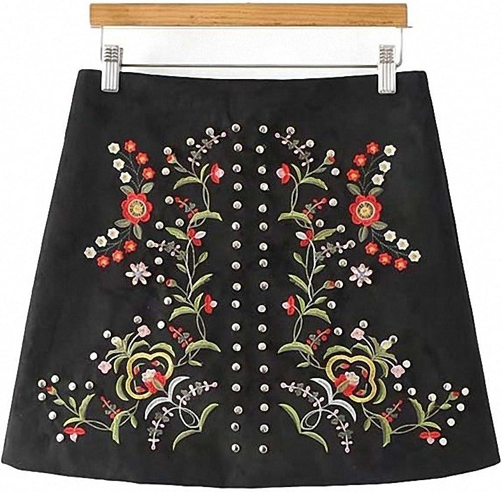 Dawery Womens Floral Embroidery Studded Suede Skirts Vintage Rivet Fake Diamonds Beading Zipper Casual Faldas Mini Skirts