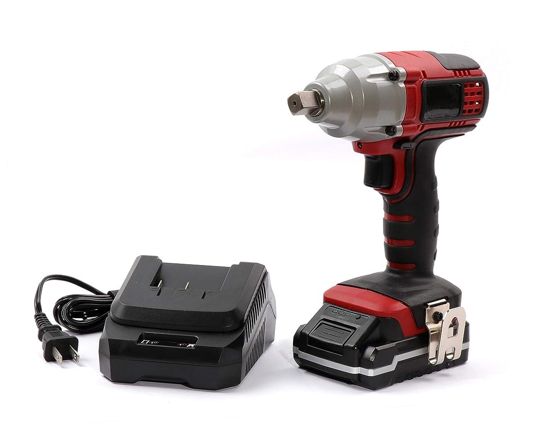 学部自分行政Koshihara NN112 充電式インパクトレンチ 18V 赤/黒 バッテリー、充電器付き