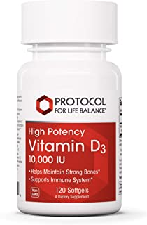 Protocol For Life Balance - Vitamin D3 10,000 IU (High Potency) - Supports Calcium Absorption, Bone and Dental Health, Ner...