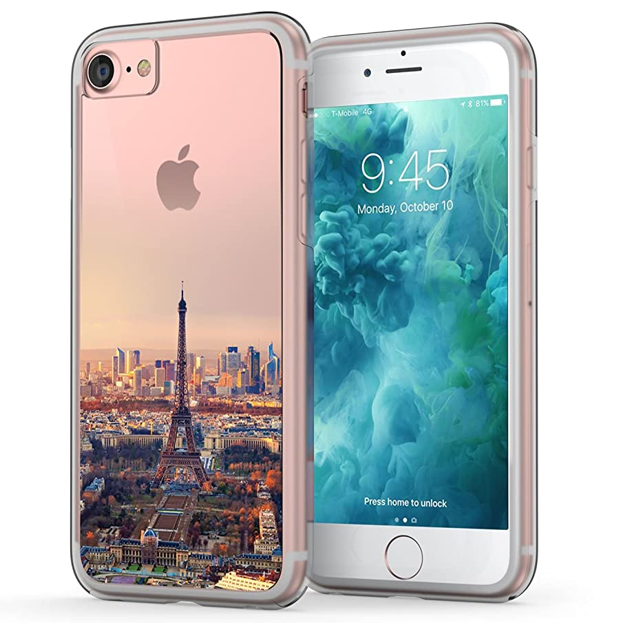 True Color Case Compatible with iPhone 7 Case, iPhone 8 Case, Eiffel Tower Paris Printed on Clear Transparent Hybrid Cover Hard + Soft Slim Durable Protective Shockproof Rubber TPU Bumper