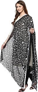 Dupatta Bazaar Woman`s Embroidered White on Black Chiffon Chunni,Dupatta, Stole with Lace Border