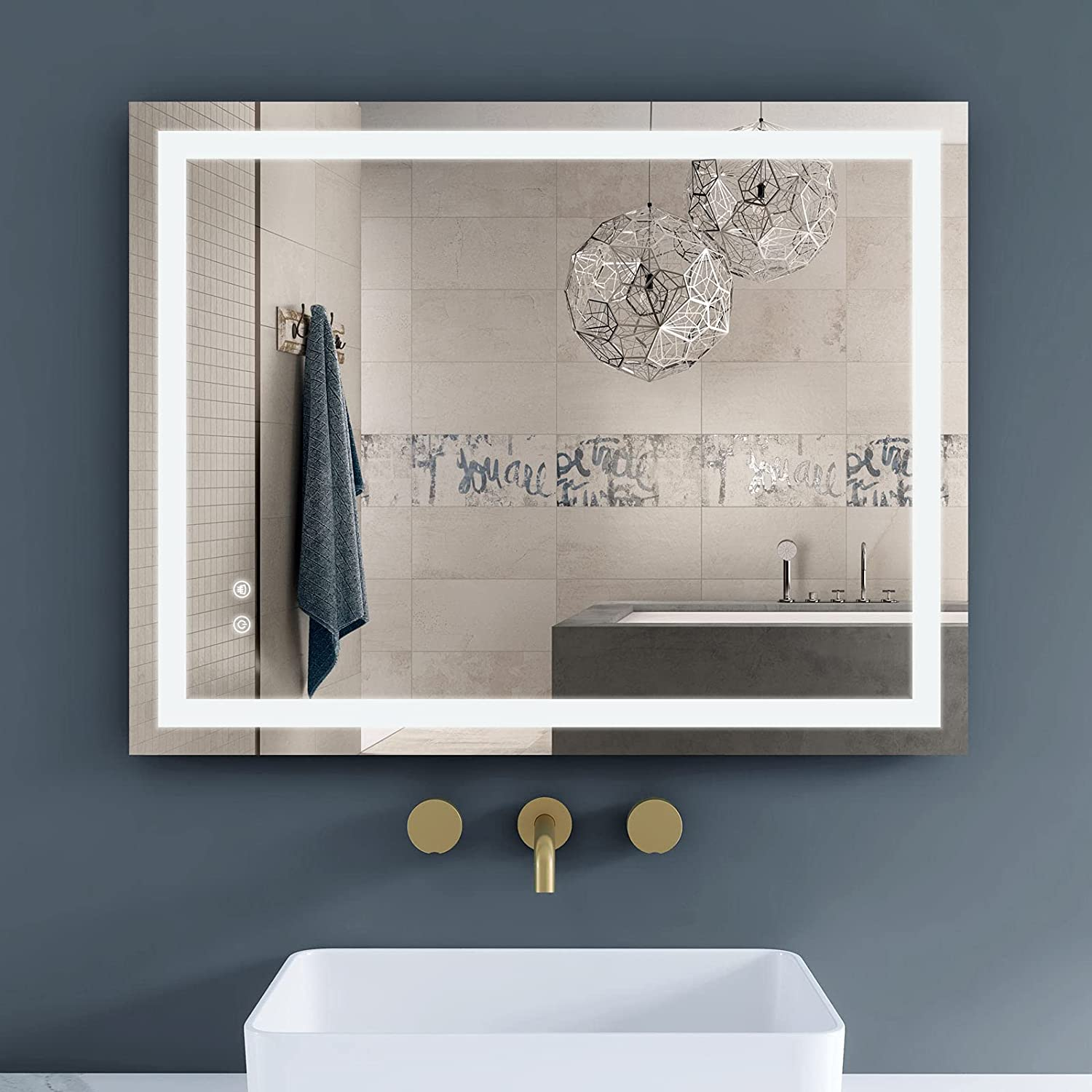 Buy Venetio 36 X 28 Inch Led Bathroom Mirror For Wall With Smart Touch Screen Anti Fog Dimmable Function Large Frameless Light Up Makeup Mirror For Vanity Ideal For Modern