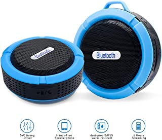 Mini Bluetooth Speaker Waterproof Shower Wireless 5W Driver Portable Speaker Car Hands Free and Music Outdoor Speaker Loud with TF Card Function for Echo Dot, iPhone, iPad, Samsung, tablet, BLUE