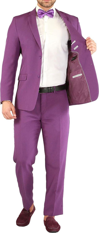 36R Paul Lorenzo Mens Purple Slim Fit 2 Piece Suit for Men