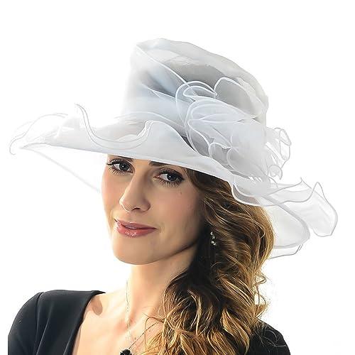 45d094bd48487 Discoball Women s Sun Hat - Floral Organza Flat Large Wide Brim Gauze  Kentucky Derby Cap -