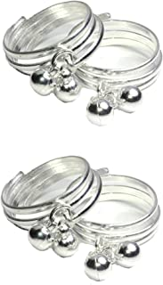 Frolics India Combo Of Stones Studded Silver Bichhiya/ Toe Rings For Women And Girls - Pack of 4