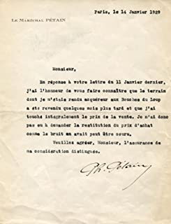 Philippe Petain MARSHAL OF FRANCE autograph, typed letter signed