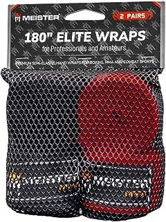 Meister Elite - Vendas de Mano para Adultos de 180 Pulgadas para MMA y Boxeo, Paquete de 2 Pares con Bolsa de Malla