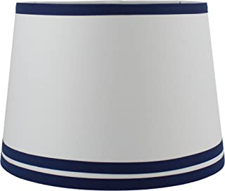 Urbanest White with Double Trim French Drum Lampshade, 10-inch by 12-inch by 8.5-inch, Navy Blue, Spider