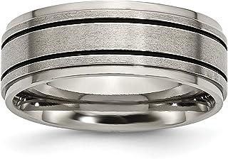 Mens 8mm Titanium Black Enameled Flat Edge Satin and Polished Wedding Band Ring