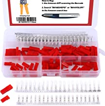 Hilitchi 300Pcs (50set) 2.54mm 2-Pin Female & Male Red Plug Housing Crimp Terminal Connector Kit Compatible with JST SYP