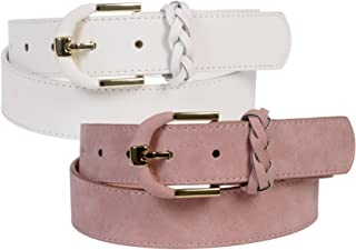 """Sunny Belt Women's 1 ¼"""" Wide 2 Pack Fashion Faux Suede Belt With Gold Buckle And Braided Loop"""