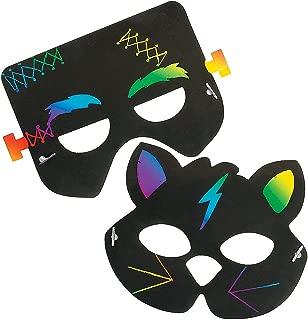 Fun Express - Halloween Magic Scratch Masks for Halloween - Craft Supplies - Magic Scratch - Shapes & Paper - Halloween - 24 Pieces