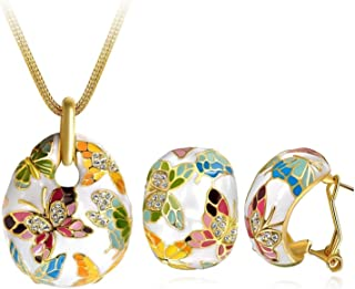 Crunchy Fashion Bollywood Indian Jewelry Embellished Butterfly Necklace with Earrings Set for Women/Girls