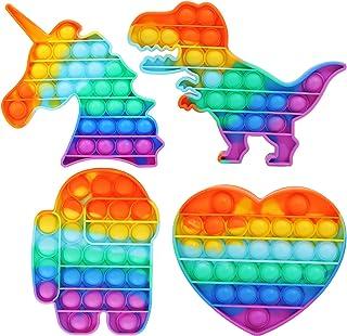 CXTSMSKT Pop It Fidget Toy Unicorn Dinosaur Spaceman Love Heart Push Popping Bubble Sensory Game for Kids Adults