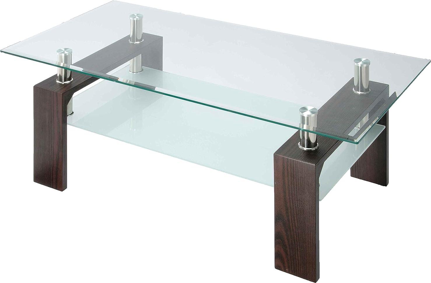 モート隣接する承認モダン ガラス リビングテーブル 幅96cm 8mm厚 天板 センターテーブル ローテーブル 応接セット 施設 ロビー カフェテーブル ソファテーブル 机 収納 テーブル ディスプレイ 強度 デザイン ゴージャス ガラステーブル おしゃれ ダークブラウン VGT-100DBR
