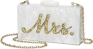 Clutch Purse Handbag for Women Bride - Acrylic Shoulder Crossbody Bag With Detachable Gold Chain Strap Acrylic Shoulder We...