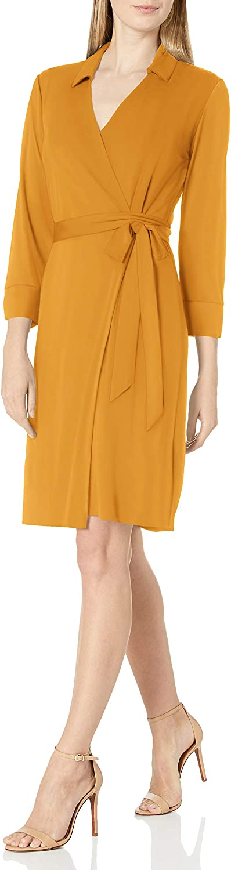 Lark & Ro Women's Matte Jersey Collared V-Neck Long Sleeve Wrap Dress