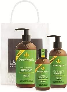 DermOrganic Hair Essentials Bag - Shampoo 12 fl.oz, Masque 8.5 fl.oz, Leave-in Treatment 4 fl.oz