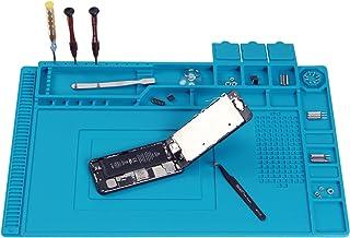 """تشک تعمیر ، مات لحیم کاری سیلیکونی مغناطیسی بزرگ ، مقاوم در برابر حرارت الکترونیک تشک 932 ° F با قطعات ابزار ذخیره سازی سازمان دهنده قطعات برای ایستگاه لحیم کاری ، تلفن ، آی پد و تعمیر کامپیوتر 17.7''x 11.8 """"، آبی"""
