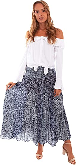 Bishop Young Womens Skirt White Red Size Small S Maxi Printed Ruffle $60 106