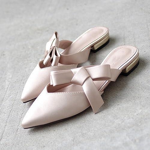 DIDIDD Pantoufle D'été Usure Romaine Arc Pointu Baotou Muler Chaussures Fée Chaussures Plates,Nu,38