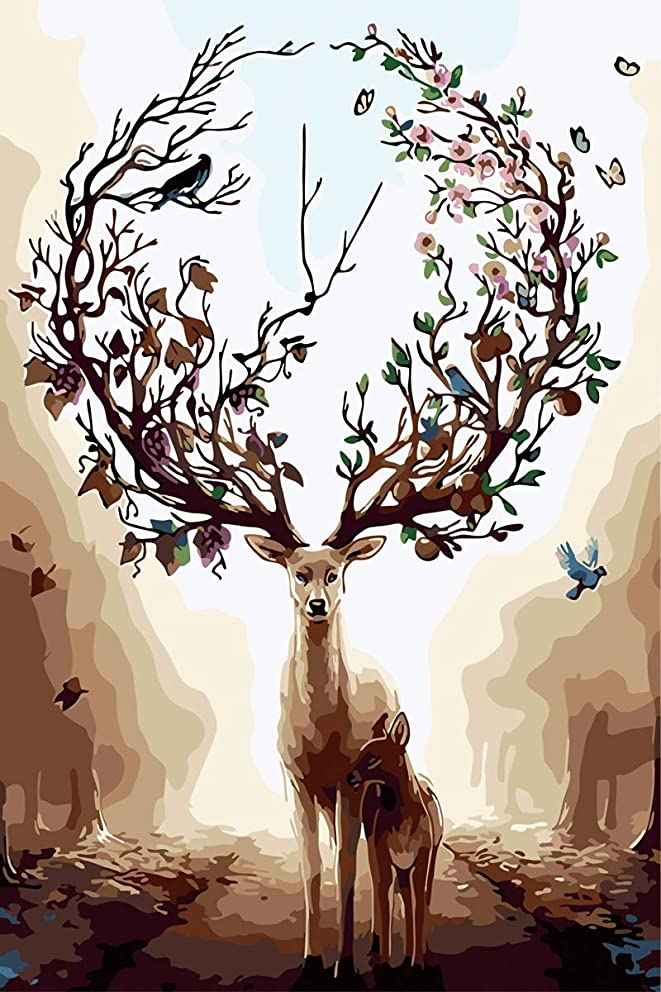 [Framless]DIY Oil Painting Paint by Numbers Kits for Adults, Kids, Beginner - Dream-Forest Deers 16