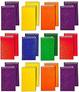 Kicko Spiral Prism Notepads - 2.25 X 3.5 Inches - 20 Pages Each - Pack of 24 - Assorted Colors Mini Spiral Bound Memo Pad, Pocket Size - for Kids Great Party Favors, Bag Stuffers, Fun, Gift, Prize