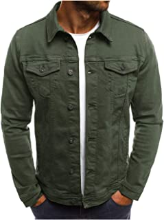 Mens Unlined Cotton Jacket Slim Fit Coat Long Sleeve Outerwear