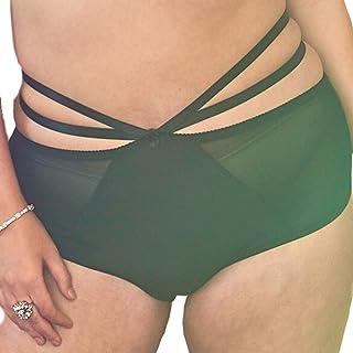 Viva Voluptuous Black Strap Plus Size Briefs, Panties Size US 6 - US 26