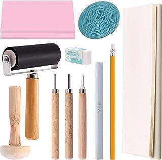 Swpeet 41Pcs Rubber Stamp Making Kit, Rubber Stamp Carving Blocks, 1 Whetstone, Craft Knife, Ink Roller, Plastic Stamp, Wo...