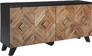 Ashley Furniture Signature Design - Robin Ridge 4-Door Accent Cabinet - Contemporary - Two-Tone Brown Finish - Diamond Inlay Pattern