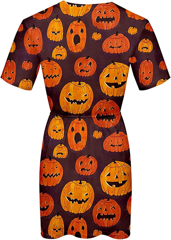 Womens Halloween Dress Elegant T-Shirt Dress Short Sleeve Summer Dresses Burning Pumpkin Basic Blouson Party Prom Dress