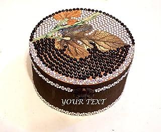 Caja de la boda, Joyero personalizado, Caja grabada, Joyero de madera, Caja del aniversario, Joyero redondo, Caja pintada ...