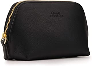 Otto Angelino Genuine Leather Makeup Bag Cosmetic Pouch Travel Organizer Toiletry Clutch, Black