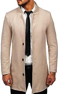 BOLF Uomo Cappotto Doppiopetto Impermeabile Doppia Fila Collo Alto Autunnale con Cintura Lungo Tempo Libero Giacca Lunga E...