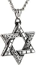 HZMAN Magen Star of David Pendant Necklace Women Men Chain Silver Stainless Steel Israel Necklace