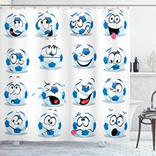 Ambesonne Sports Decor Collection, Cartoon Soccer Ball with Many Expressions Bored Laughing Happy Smiley Image, Polyester Fabric Bathroom Shower Curtain, 75 Inches Long, Blue White Red Pink