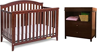 AFG Baby Furniture Kali II 4-in-1 Crib with Amber 2 Drawer Changer Espresso