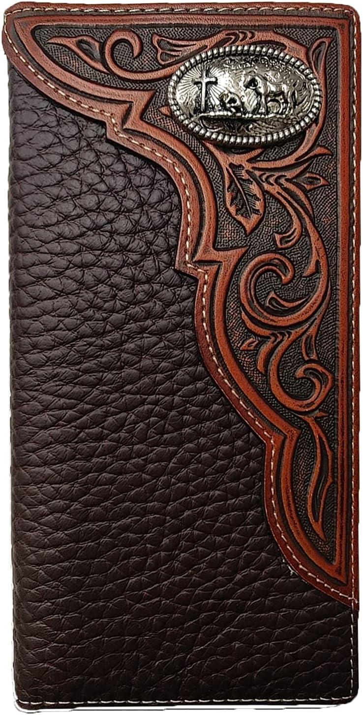 Western Wallets for Men Long Bifold Mens Leather Wallet(Praying Cowboy)