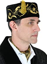 Historical Emporium Men's Deluxe Velvet Embroidered Smoking Cap